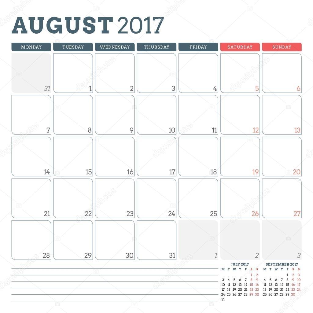 Calendar Planner Template For August 2017. Week Starts Monday. 3  Weekly Calandar Template Starting Monday