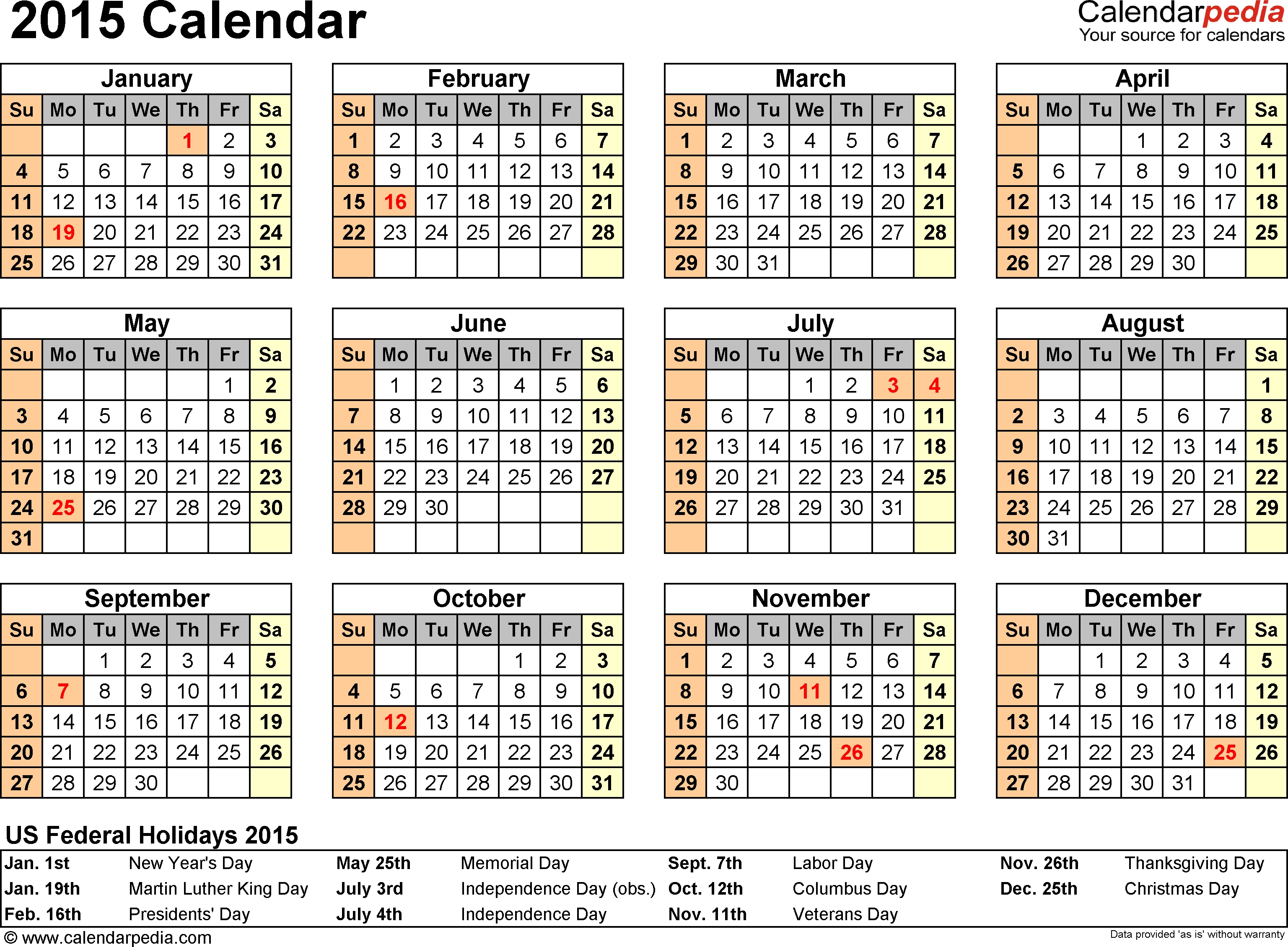 Calendar Template 2015 Excel - Yeniscale.co  Downloadable Employee Vacation Calendar 2015