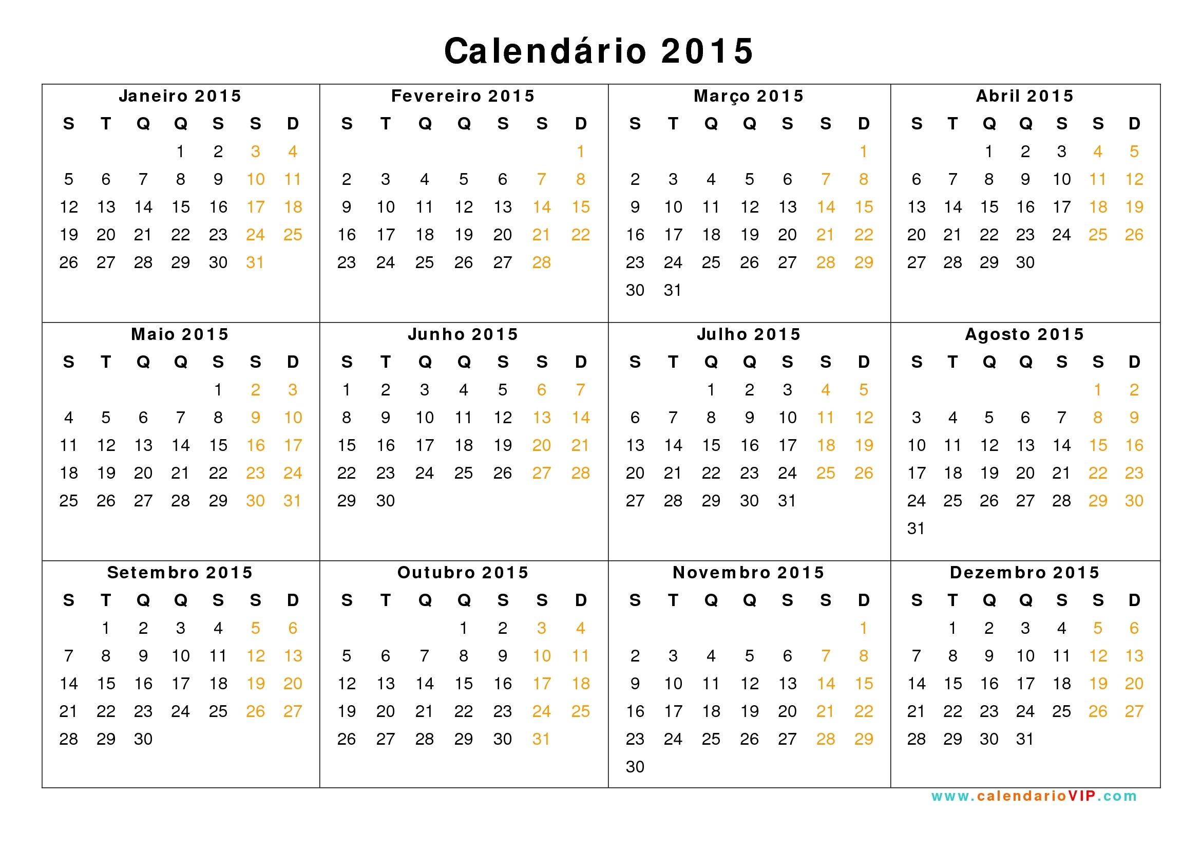 Calendário 2015 - Calendarios 2015 Para Imprimir  Calendario 2015 Para Imprimir Pdf
