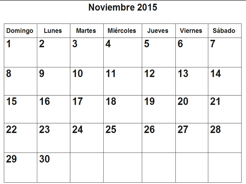 Calendario De Noviembre 2015 En Pdf Para Imprimir  Calendario 2015 Para Imprimir Pdf