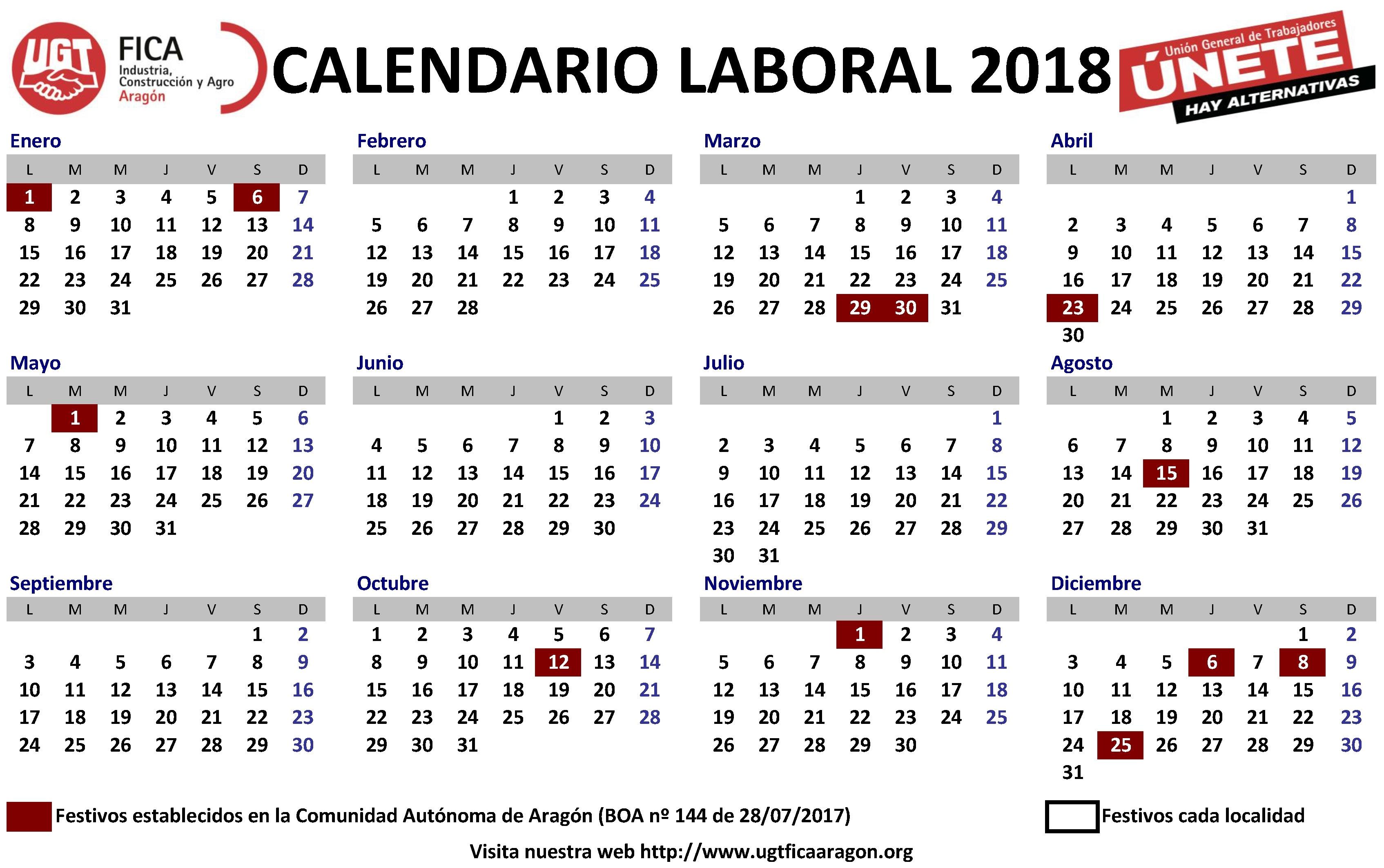 Calendario Laboral 2018, Más De 200 Plantillas Para Imprimir Y  Imagen De Tachar Dias En Almanaque