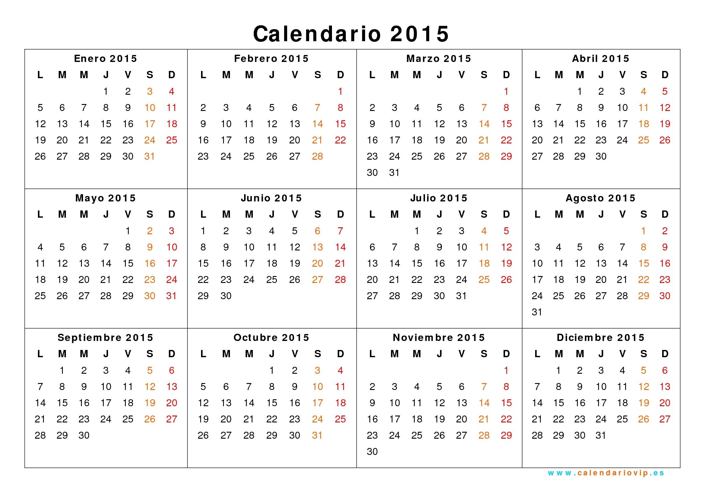 Calendarios 2015 Para Imprimir - Yeniscale.co  Calendario 2015 Para Imprimir Pdf
