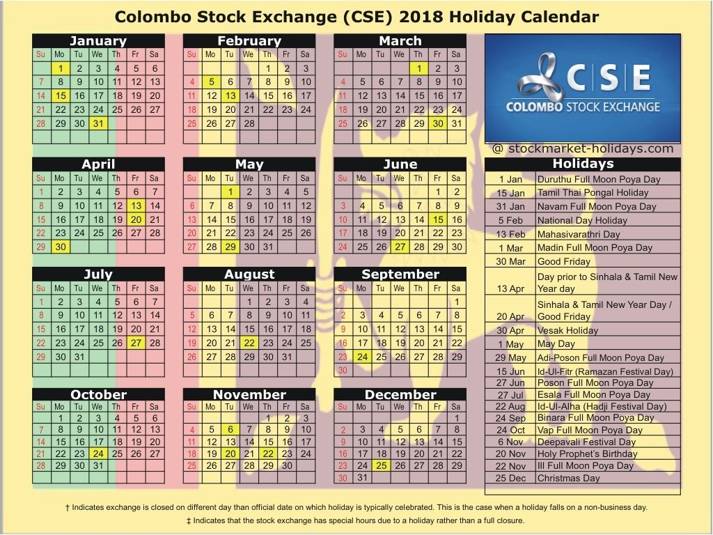 Colombo Stock Exchange 2018 / 2019 Holidays : Cse Holidays 2018 / 2019  List Ofhoidays In Sri Lanka