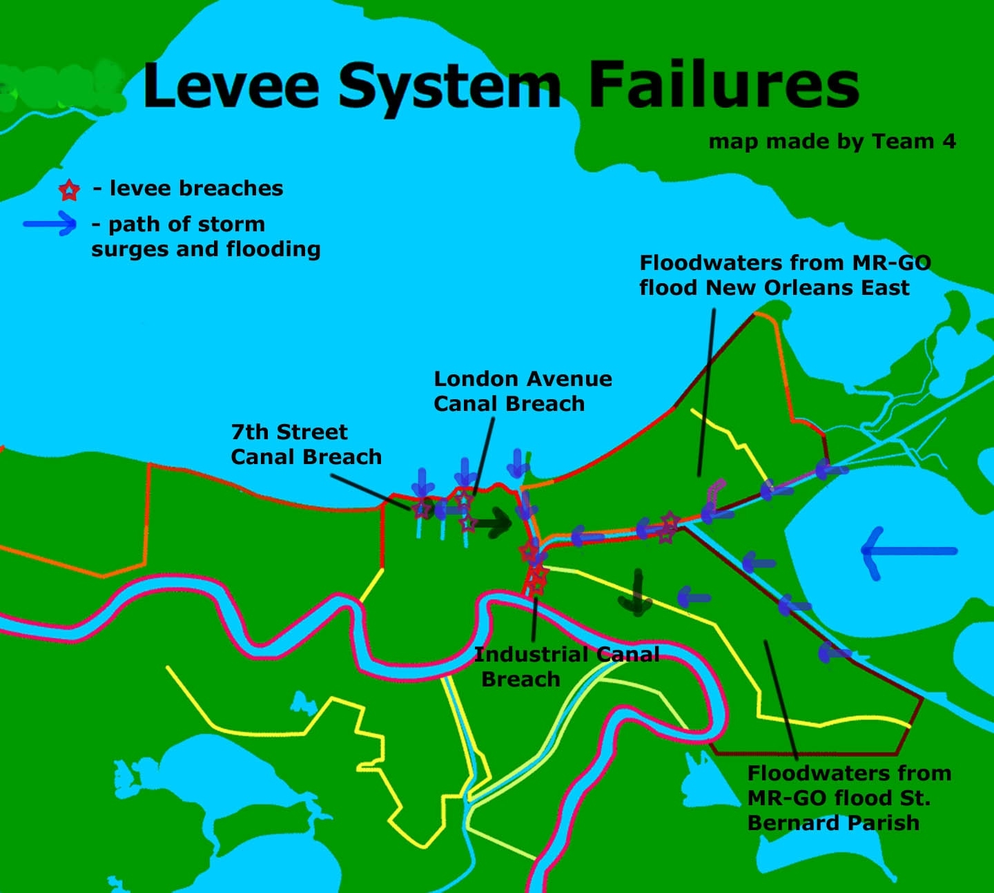 Damage - Levee Breaches  Map Of Area Affected By Hurricane Katrina