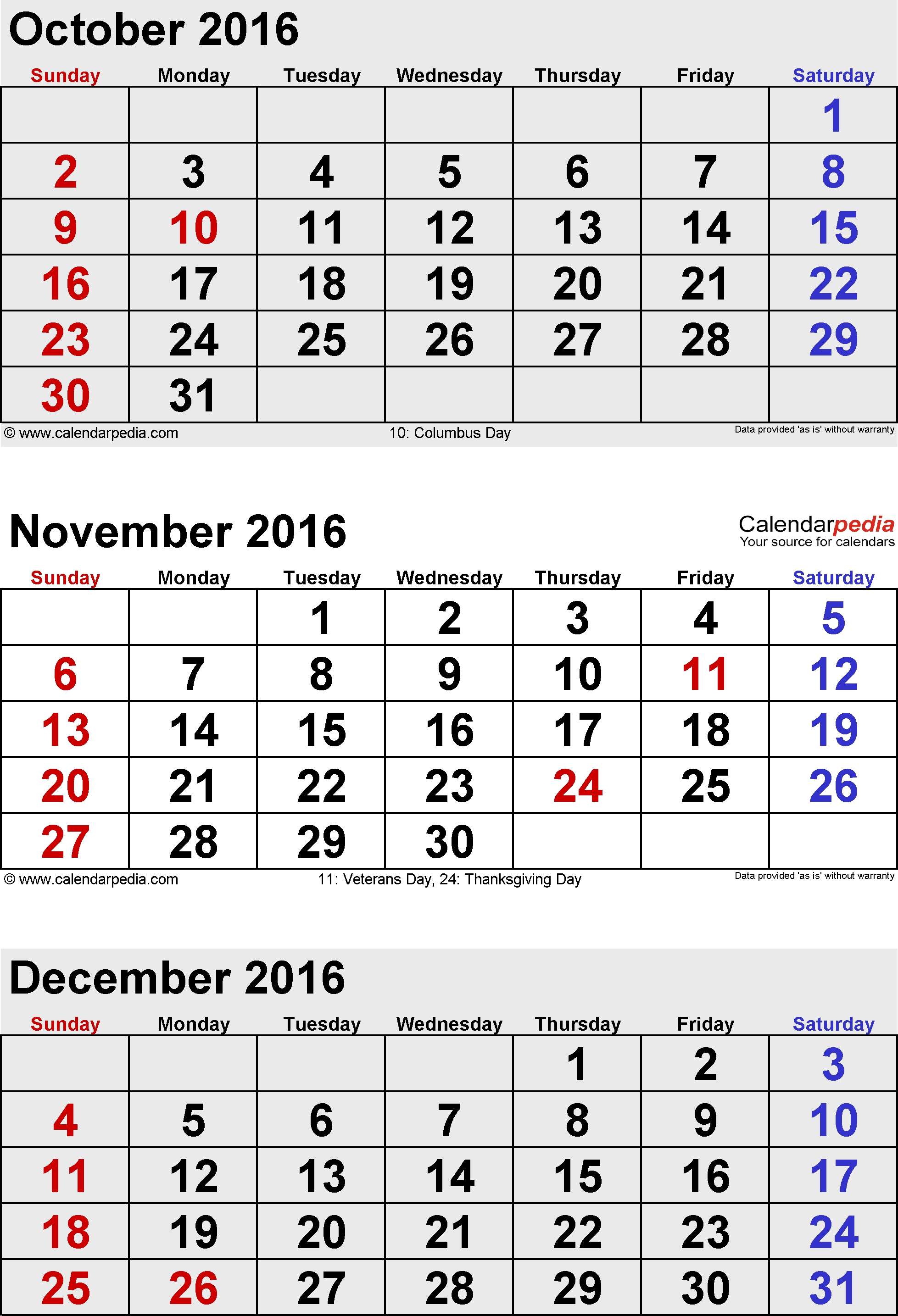 December 2016 Calendars For Word, Excel & Pdf  Month Calendar Printable Sept Oct Nov Dec