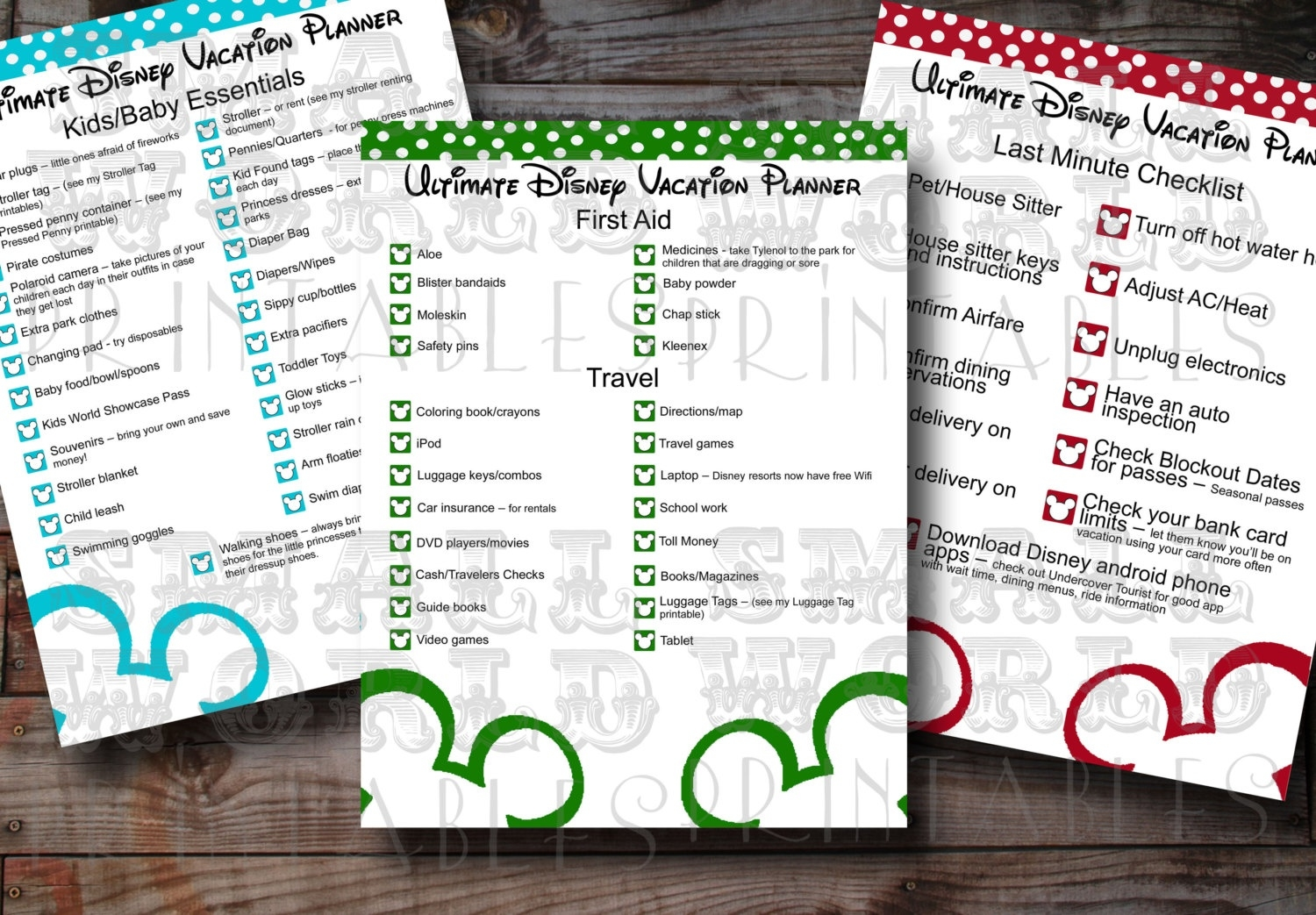 Disney World Itinerary Template  Disney World Printable Planning Sheets