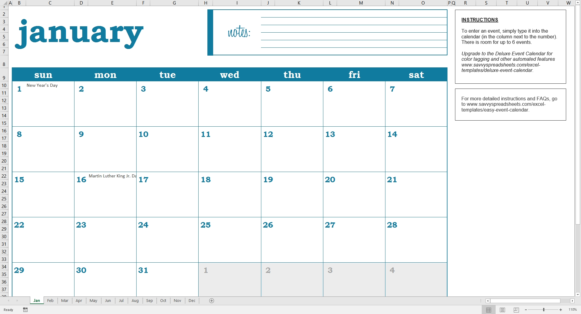 Easy Excel Calendar - Excel Template - Savvy Spreadsheets  Template For An Event Calendar
