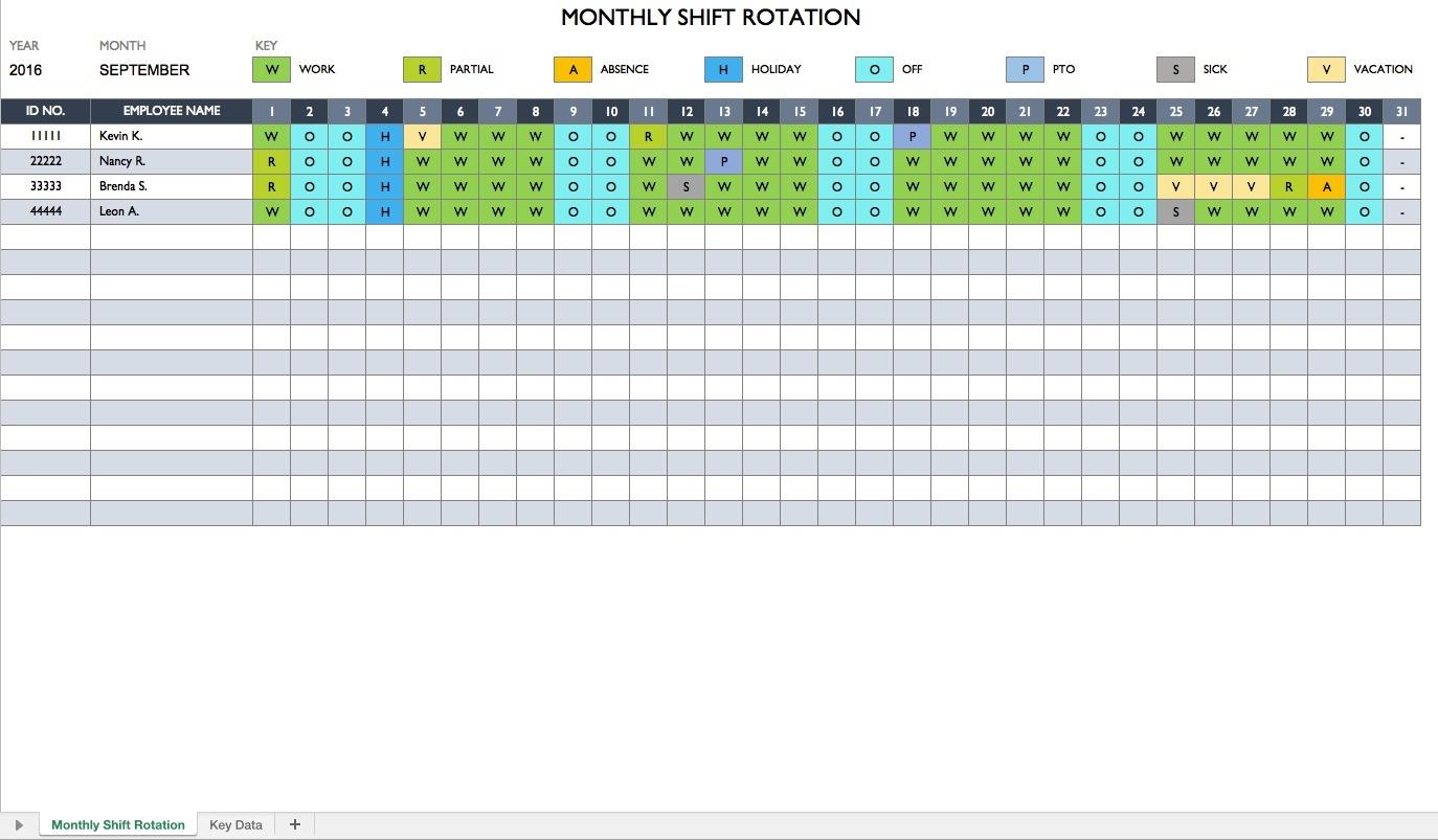 Employee Schedule Calendar Template Free - Yeniscale.co  Excel 3 Month Staff Calendar Template