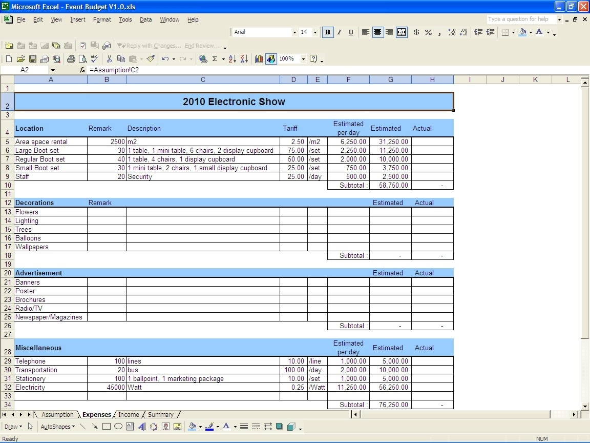 Event Budget Template Excel - Shefftunes.tk  Event Planning Template Excel Free
