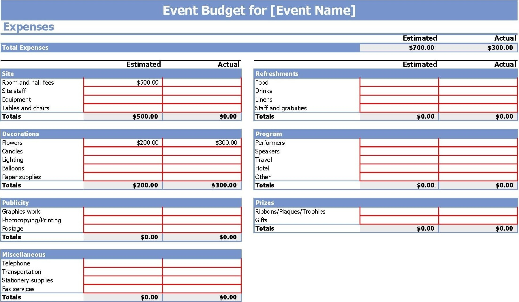 Event Budget Template Xls - Yeniscale.co  Run Of Event Event Plan Template In Excel