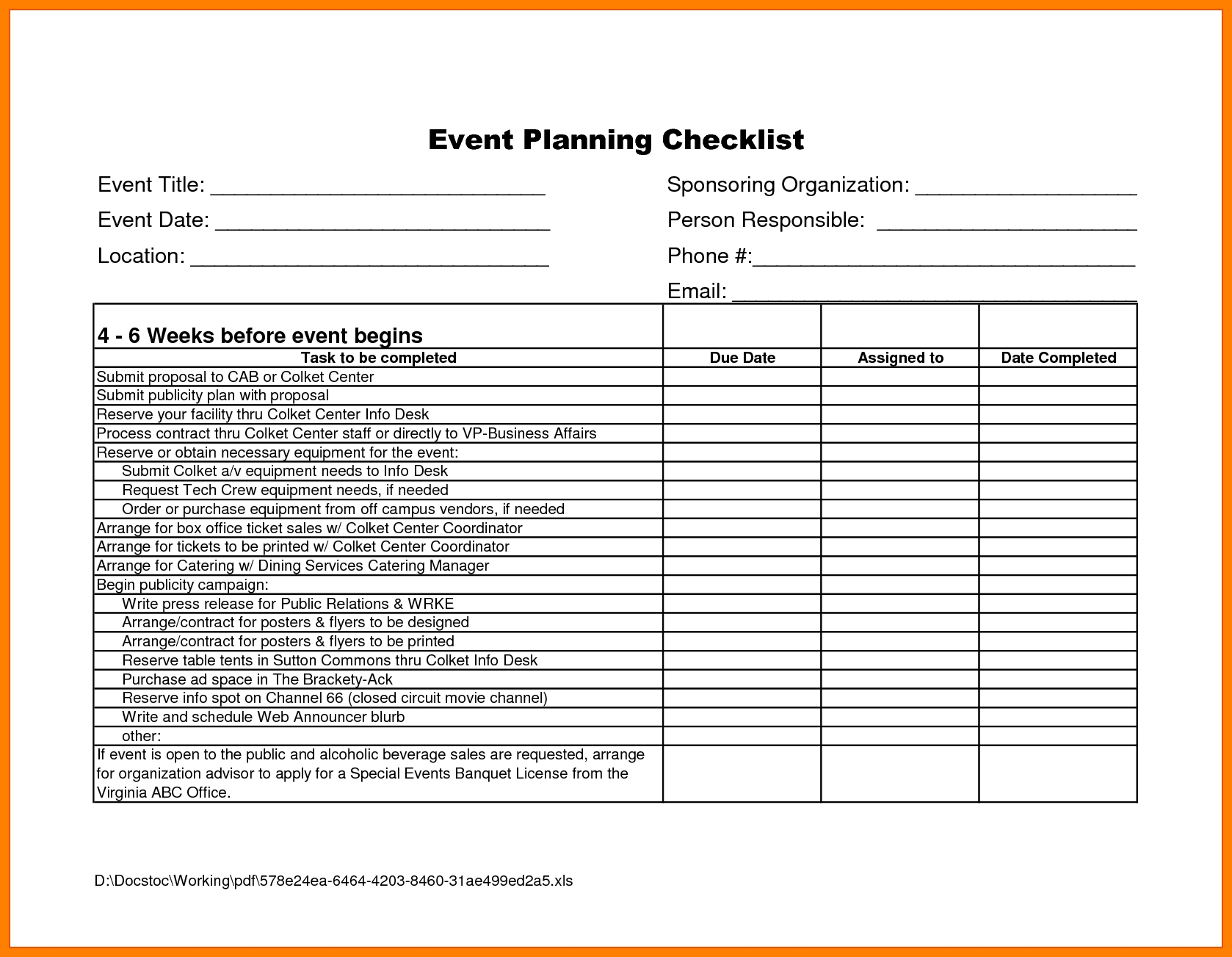 Event Checklist Template Excel Free - Yeniscale.co  Event Planning Template Excel Free
