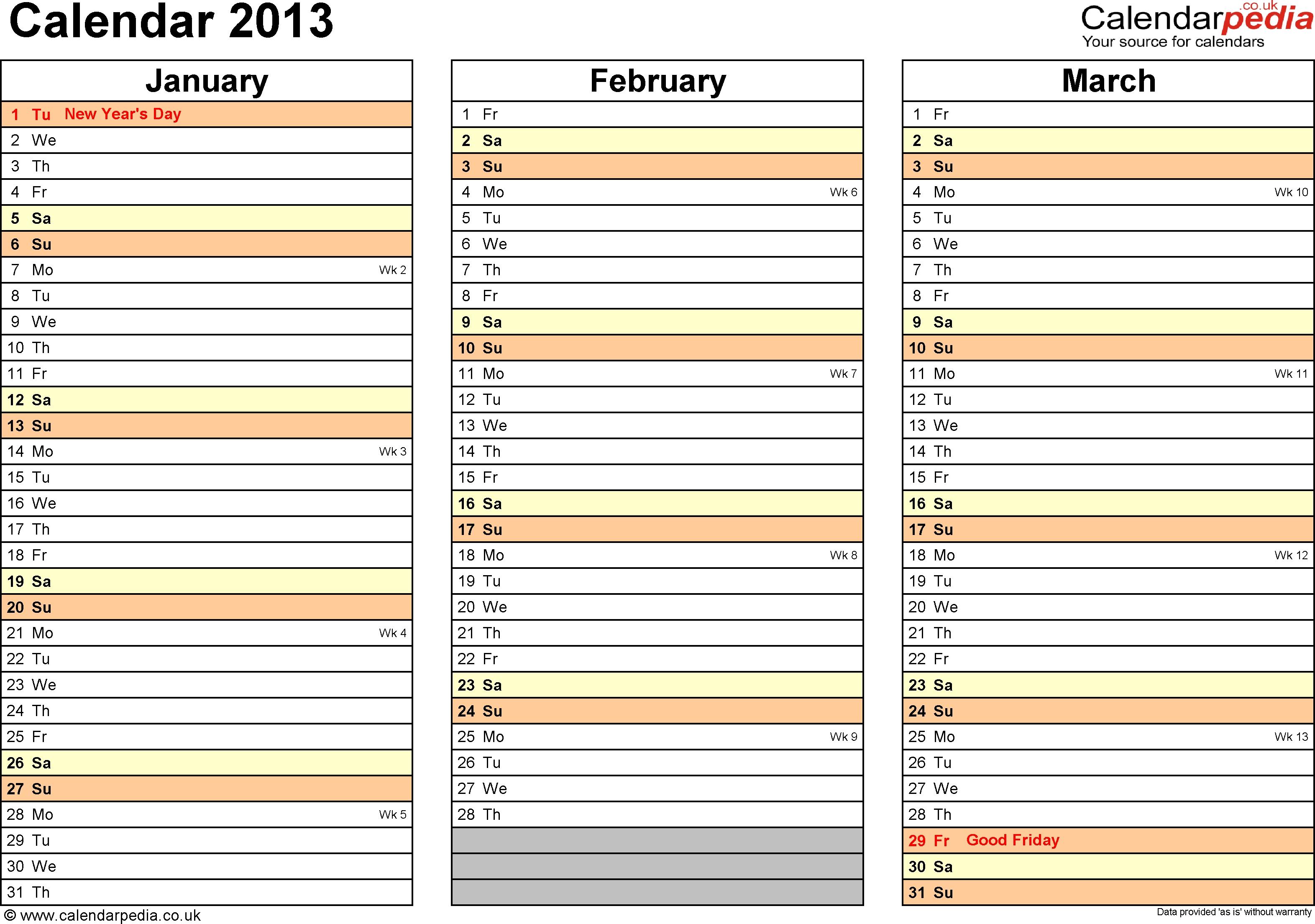 Excel 2013 Calendar Template - Yeniscale.co  Excel 3 Month Staff Calendar Template