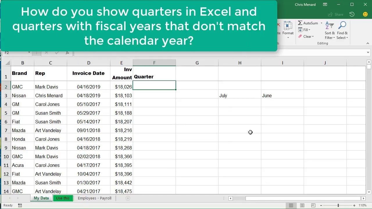 excel choose month function for quarters where fiscal year is not calendar year