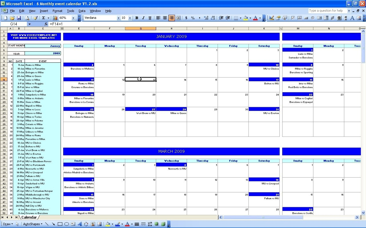 Excel Events Calendar Template - Yeniscale.co  Template For An Event Calendar
