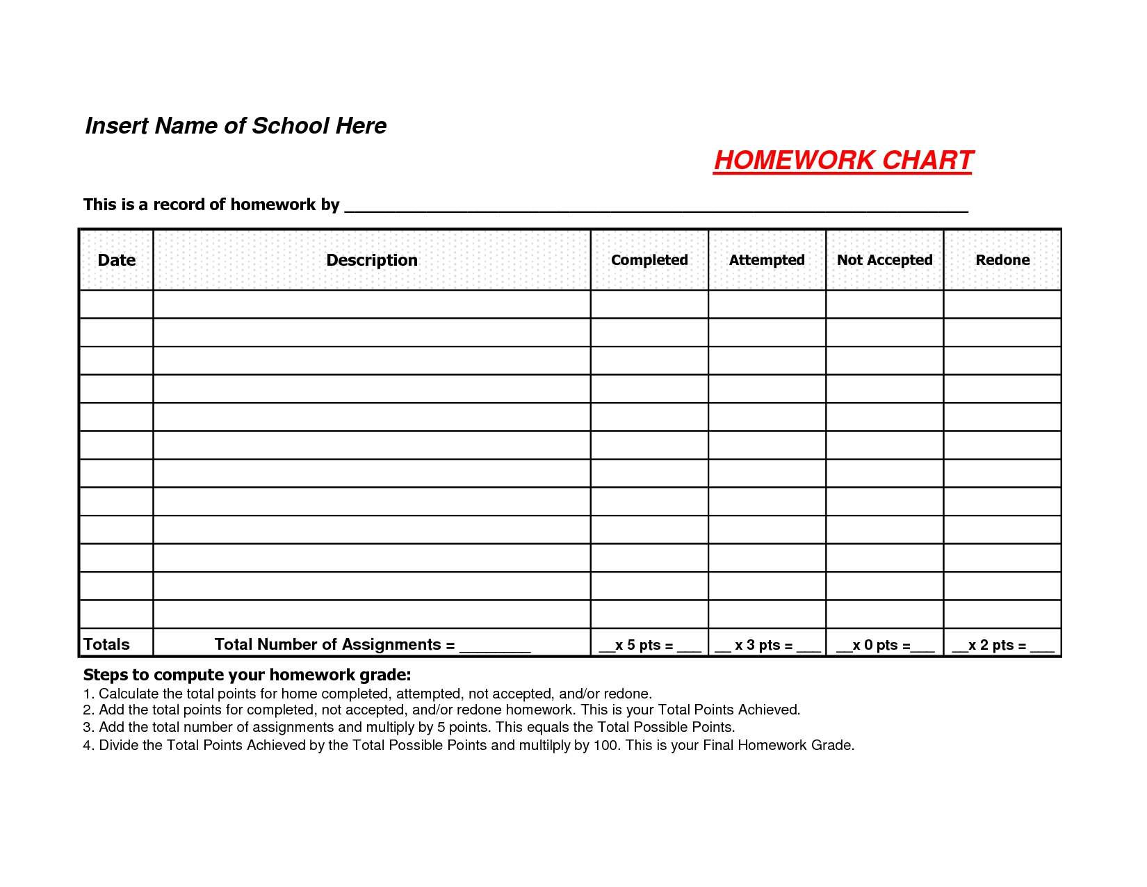 Excel. Printable Assignment Sheet: Assignment Sheets Essay Academic  1St Grade Homework Chart Templates