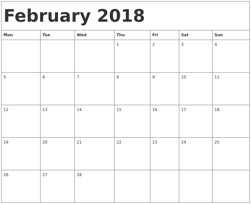 February 2018 Calendar Template February 2018 Calendar Template  Blank Monthly Calendar Monday Start