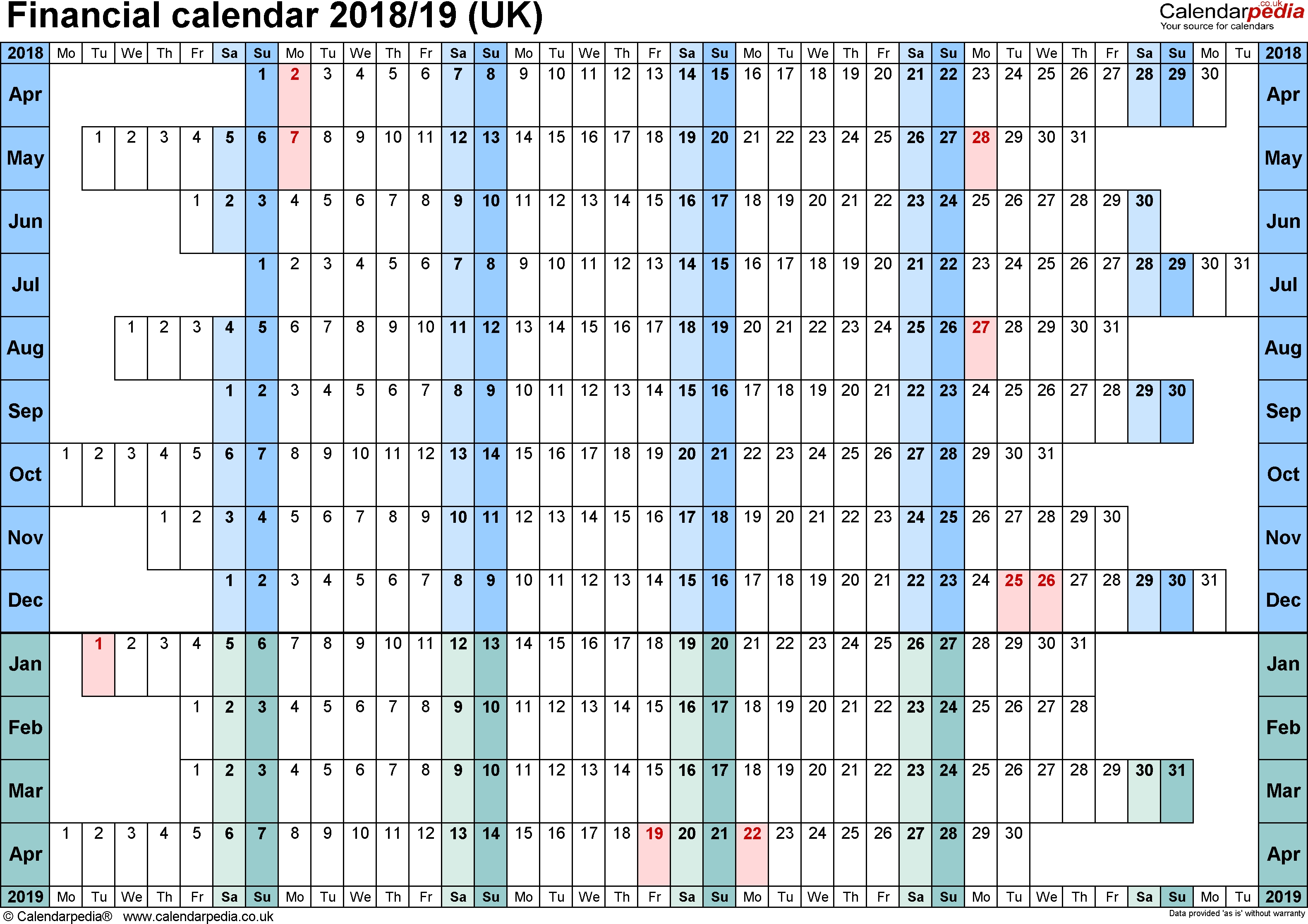 Financial Calendars 2018/19 (Uk) In Pdf Format  Network Rail Calendar Week Numbers