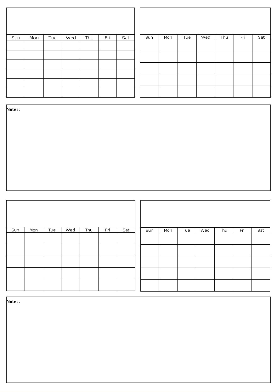 Four Months On A Page Blank Calendar Template  Blank Four Month Calendar Template