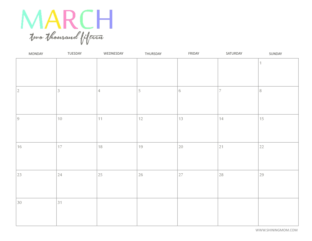 Free 2015 Printable Calendarshiningmom: Fun And Colorful!  Monthly Calendars To Print Colorful