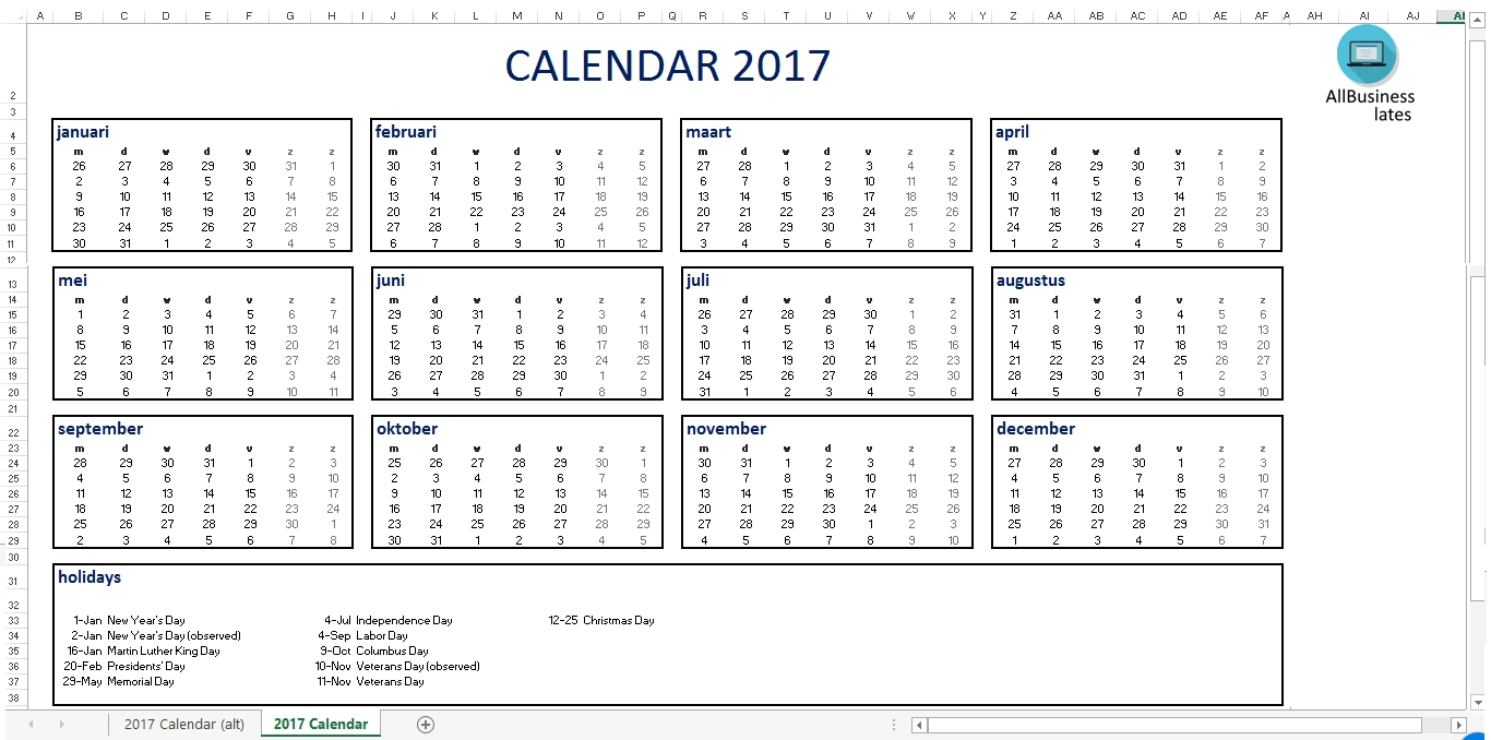Free 2017 Calendar Excel A4 Size | Templates At Allbusinesstemplates  Calendar With Large Space For Notes In Excel