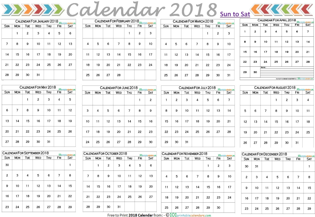 Free 2018 Calendar Landscape Layout With 12 Months On One Page  12 Month Calendar On One Page