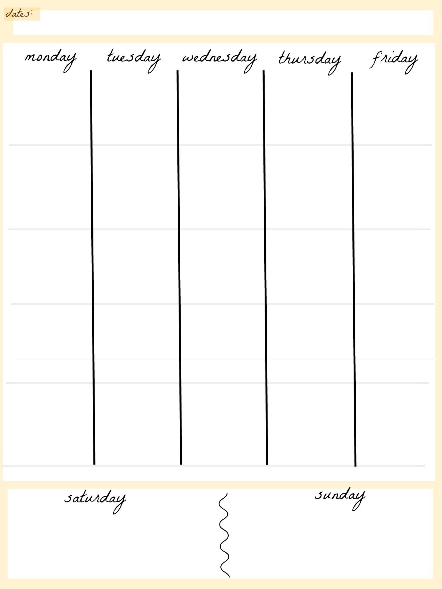 Free Blank 5 Day Weekly Calendar - 2018 Calendar Template  Free Blank 5 Day Calendar