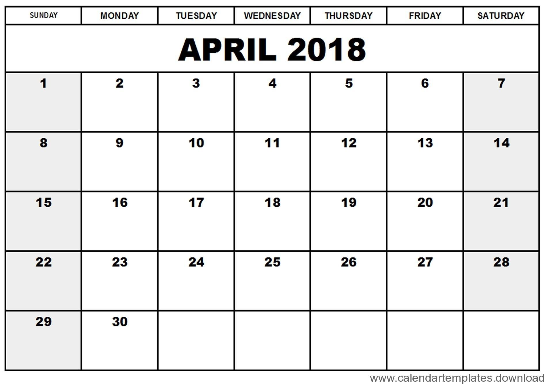 Free Blank Calendar Templates 2018 - Yeniscale.co  Free Blank Calendar Templates To Print
