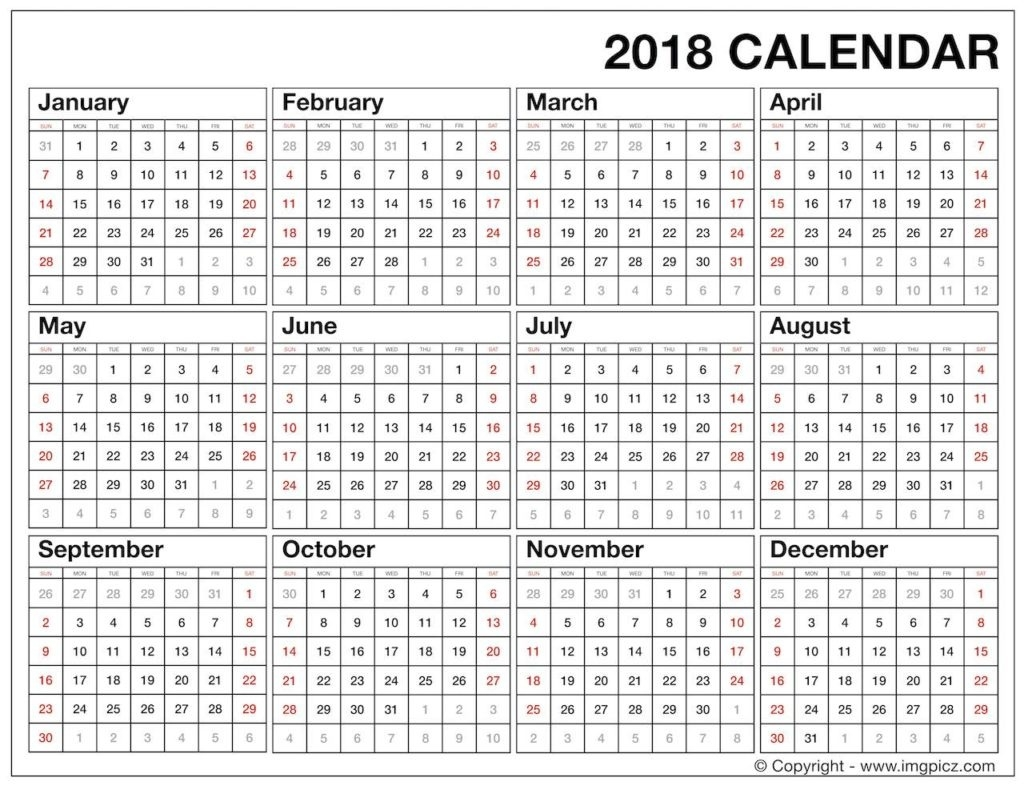 Free Download 2018 Year Calendar Printable | Year At A Glance  Year Calendar At A Glance