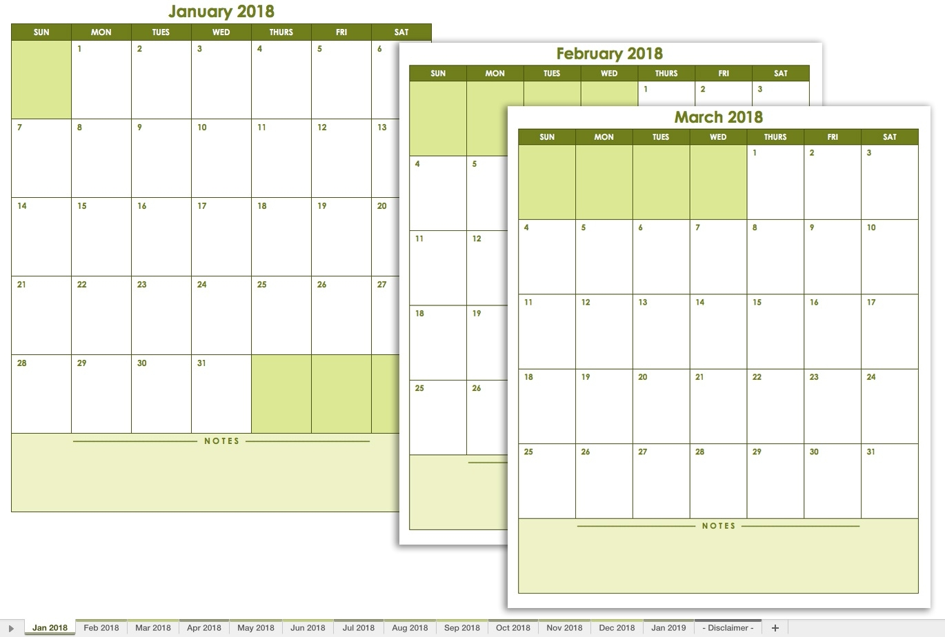 Free Excel Calendar Templates  Calendar With Large Space For Notes In Excel