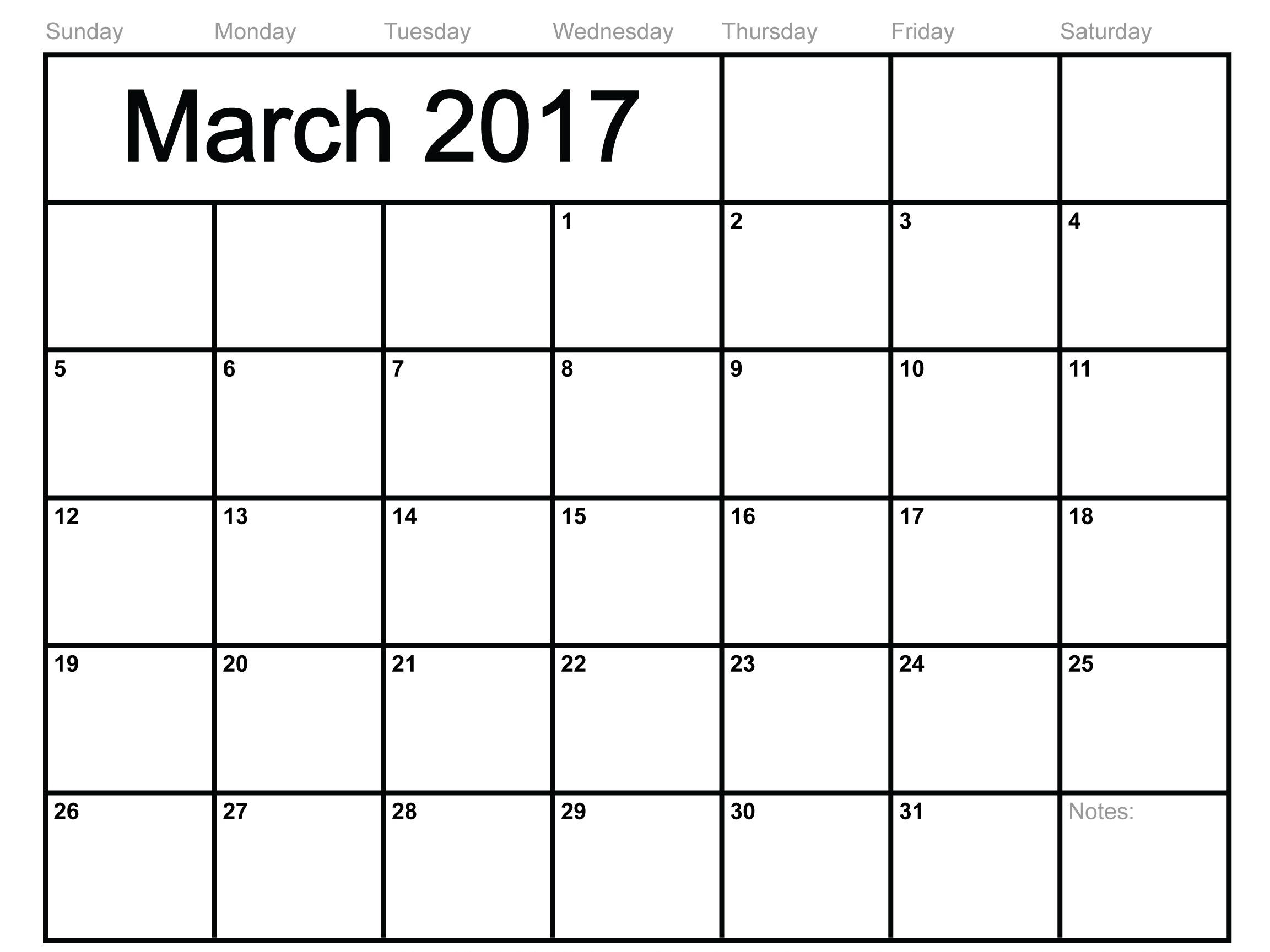Free Large Print Calendar 2017 Month Printable At Blank Monthly  Large Empty Monthly Calendar Monday Start