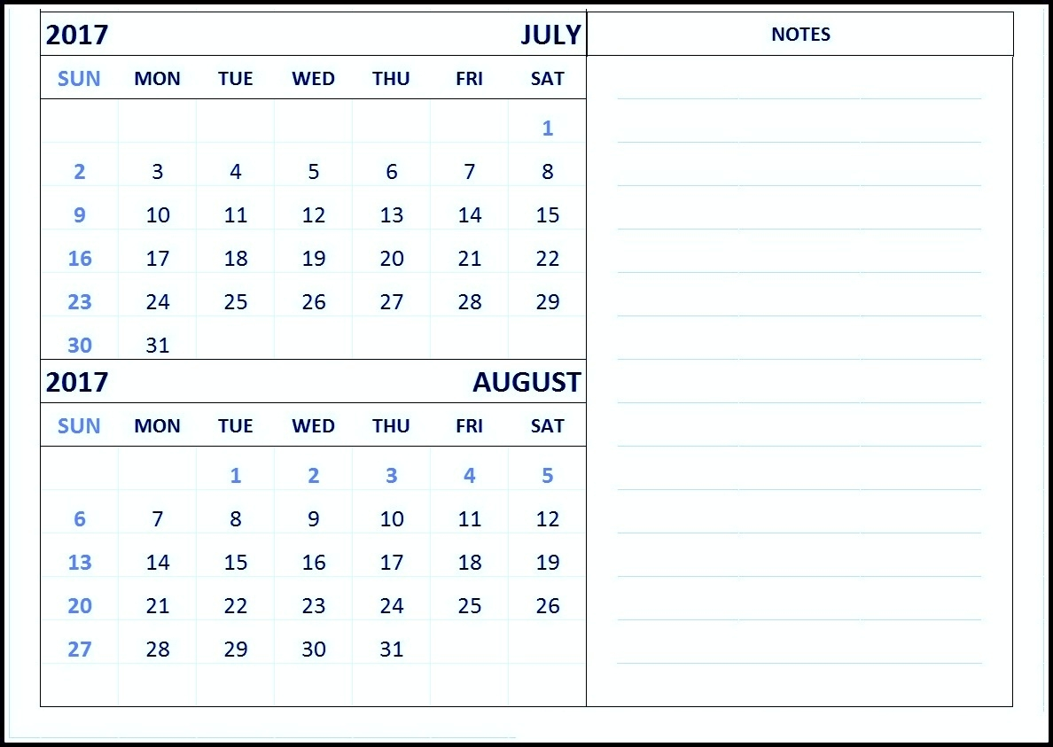 Free Print June July August 2017 Calendar Template  Printable July Through August Calendars