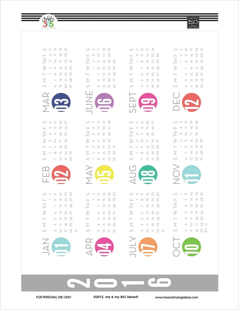 Free Printable Calendar 2016 Year At A Glance | Seven Photo  Free Printable Calendar Year At A Glance Calendar
