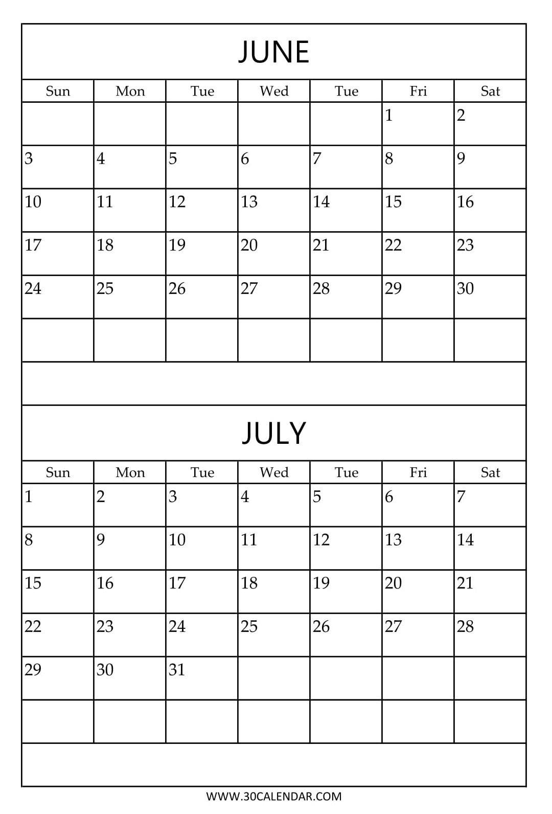 Free Printable June July Calendar Template | 2018 Calendar  June And July Calendar Printable