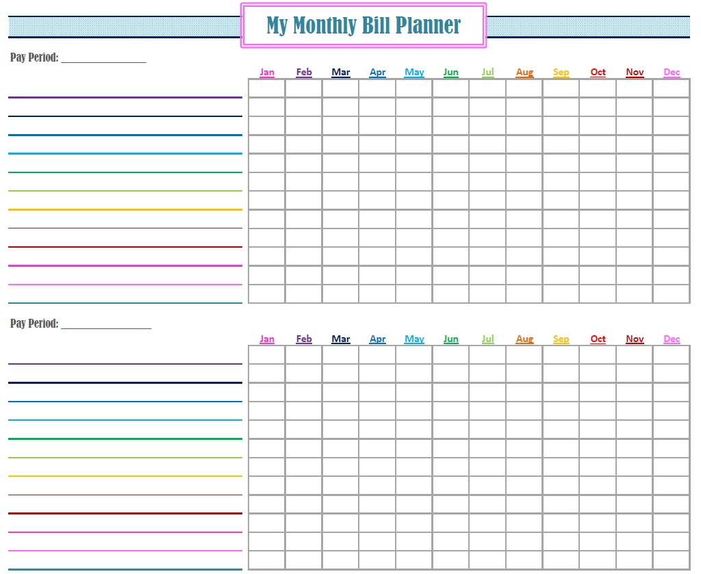 Free Printable Monthly Bill Payment Calendar | Calendar 2018 Design  Free Printable Monthly Bill Payment Calendar