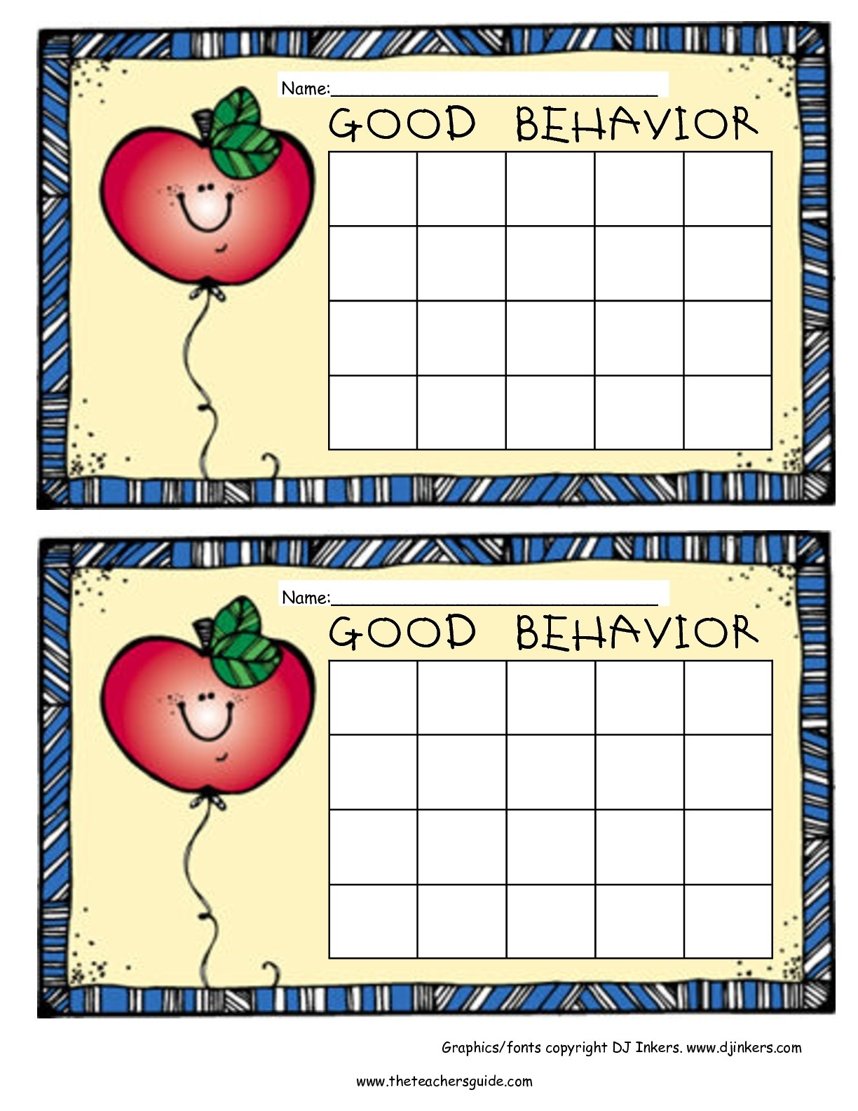 Free Printable Reward And Incentive Charts  Free Printable Blank Behavior Charts