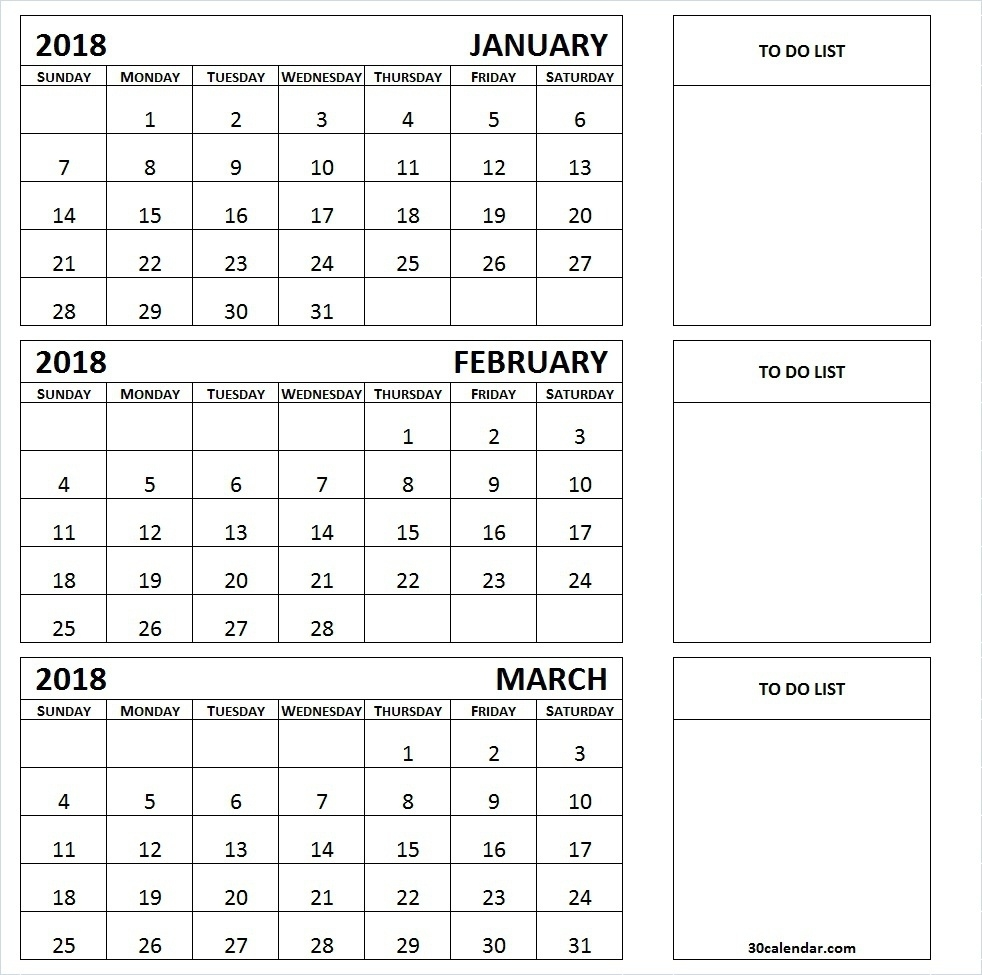 Free Printable Three Month Calendar 2018 | Seven Photo  Free Printable Three Month Calendar