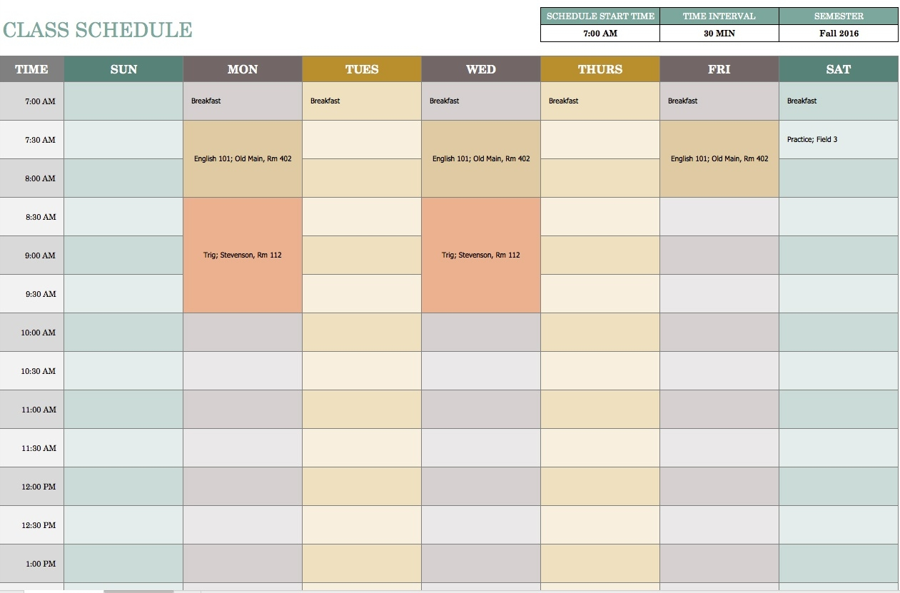 Free Weekly Schedule Templates For Excel - Smartsheet  Free Template For Weekly Schedule