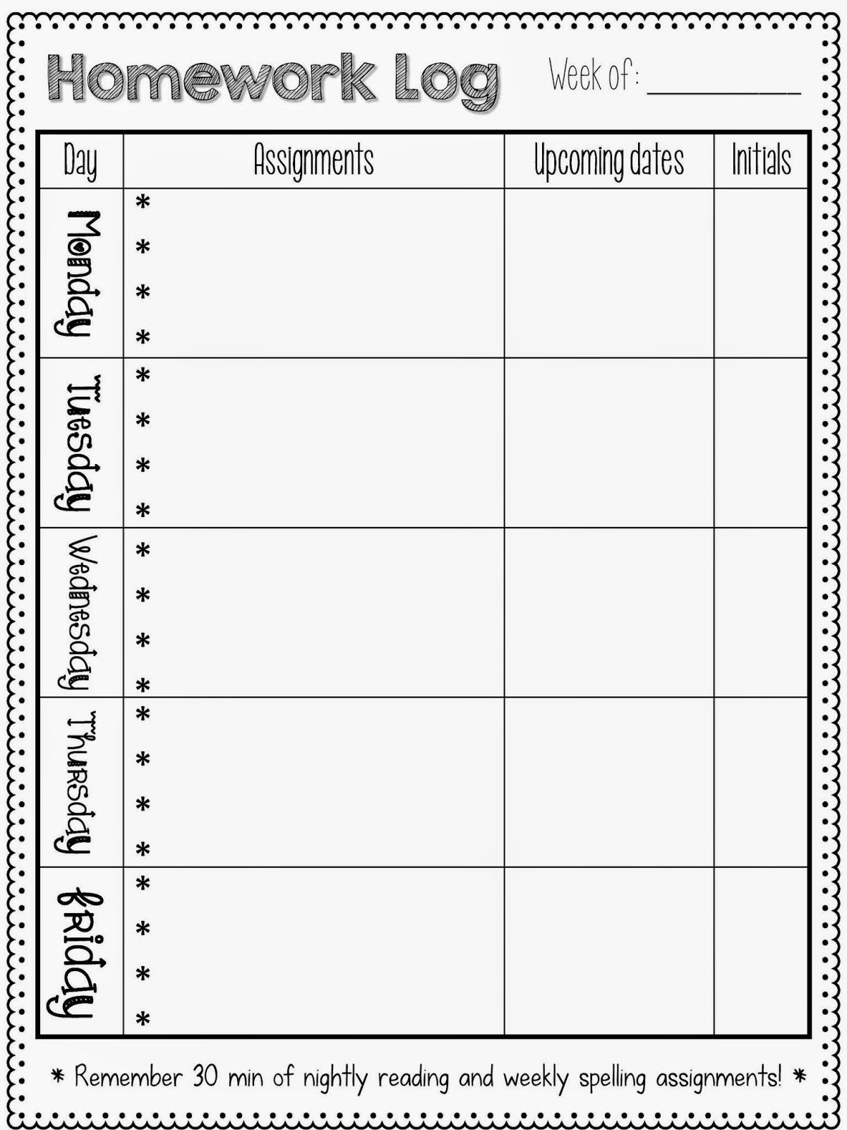 Homework Logs (Sparkles, Smiles, And Successful Students) | Homework  1St Grade Homework Chart Templates