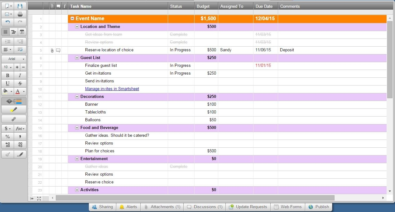 How To Use Smartsheet As Event Management Software  Run Of Event Event Plan Template In Excel