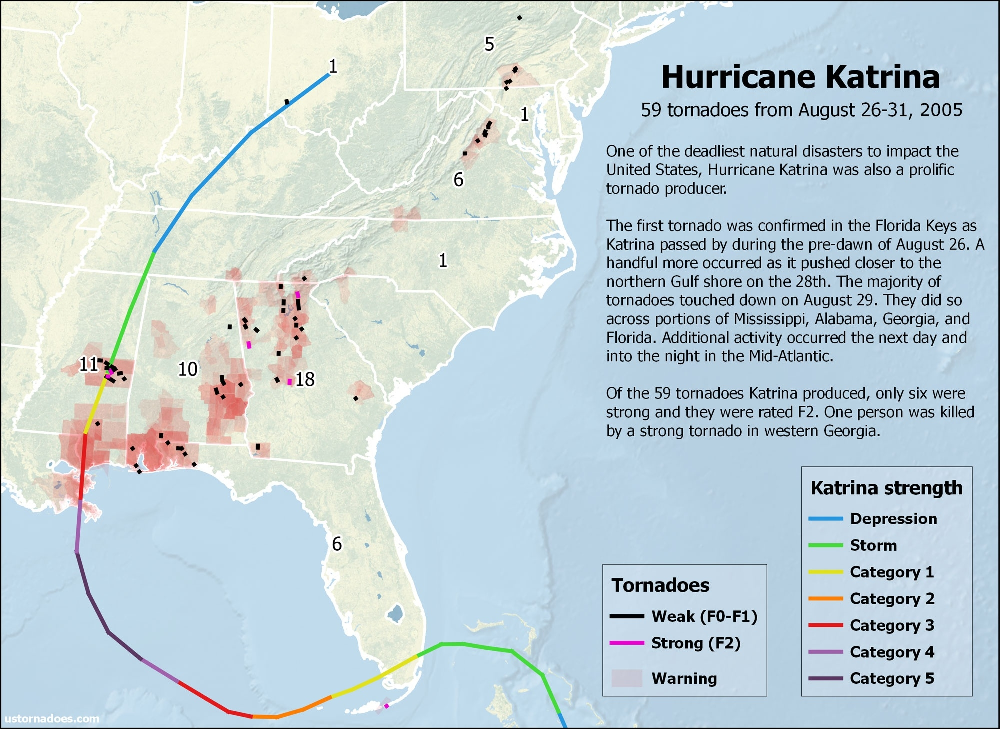 Hurricane Katrina Also Caused A Tornado Outbreak - U.s. Tornadoes  Map Of Area Affected By Hurricane Katrina