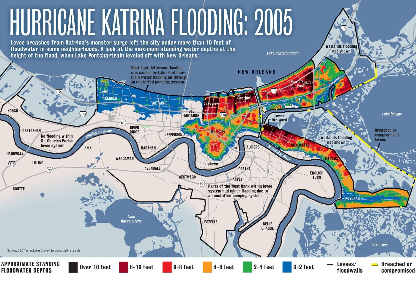 Hurricane Katrina Flooding Compared To A 500-Year Storm Today  Map Of Area Affected By Hurricane Katrina