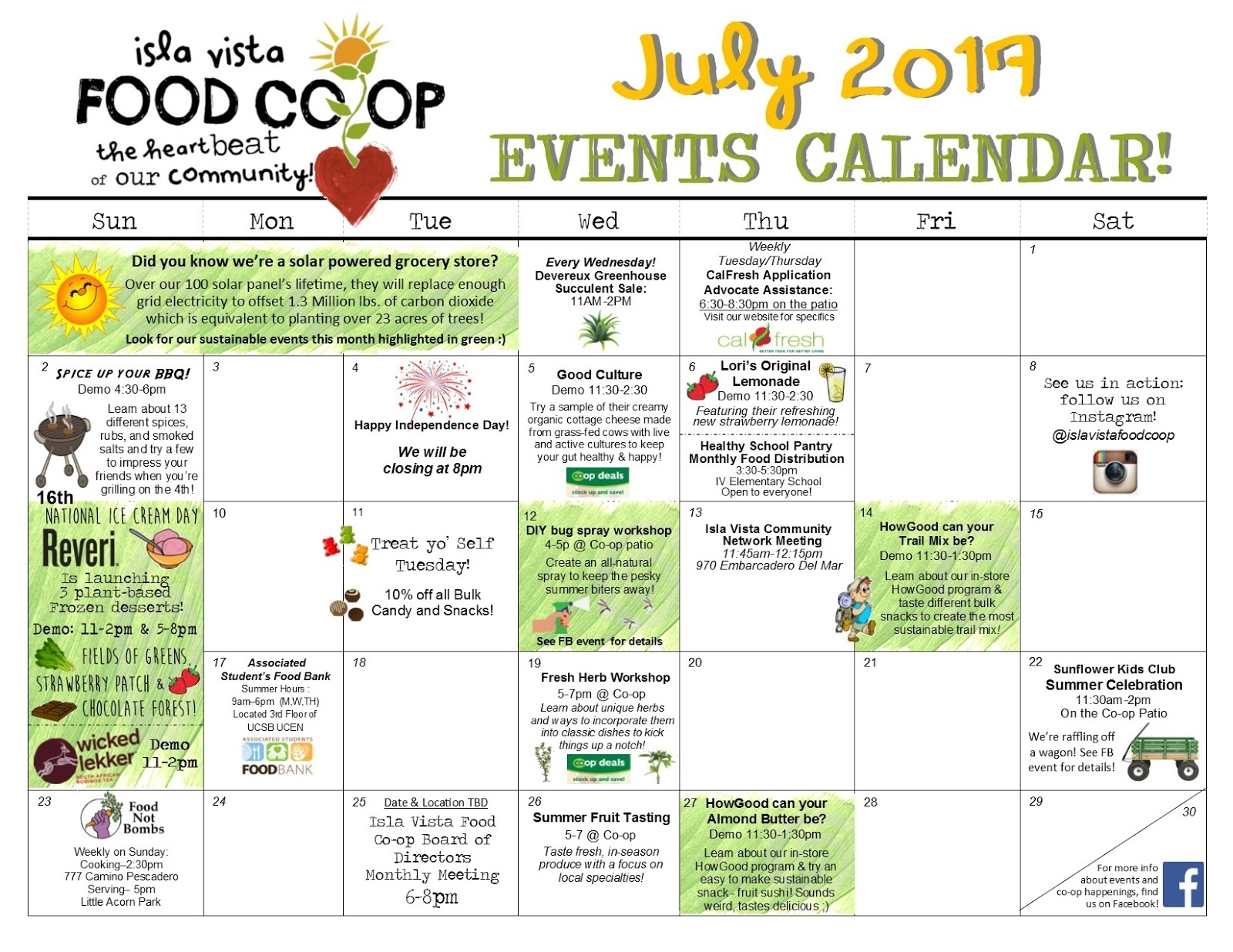 Isla Vista Food Co-Op  July National Food Day Calendar