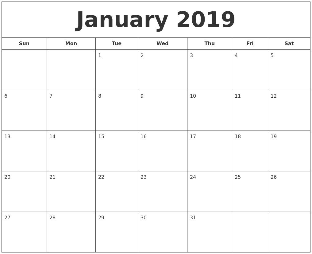 January 2019 Printable Calendar  Images Of A Calendar January Through December
