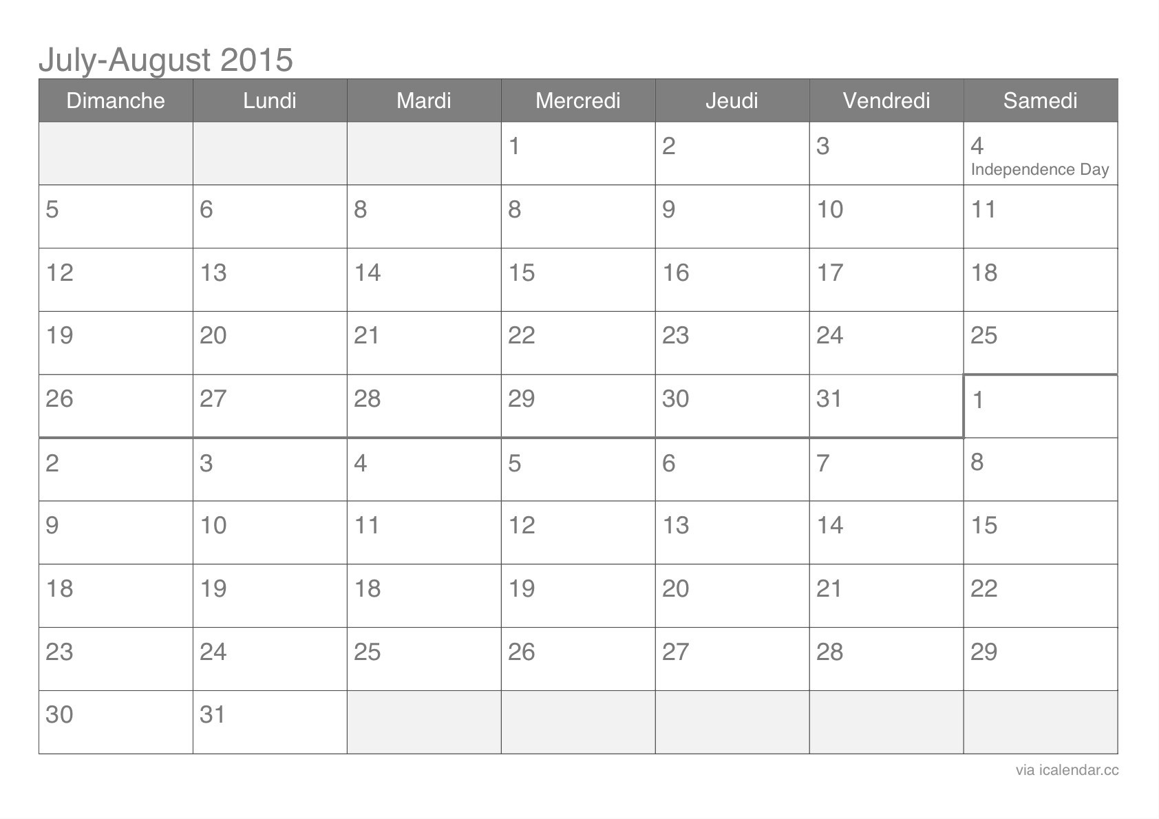 July And August 2015 Printable Calendar - Icalendars  June And July Printable Calendars