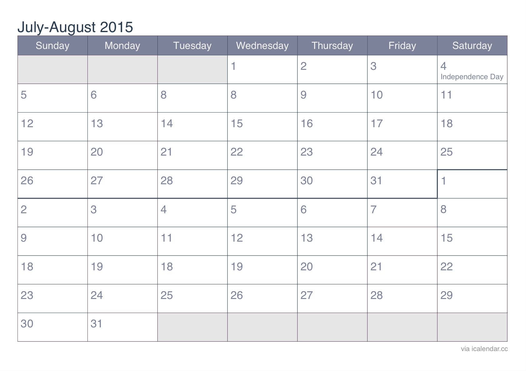 July And August 2015 Printable Calendar - Icalendars  Printable July Through August Calendars