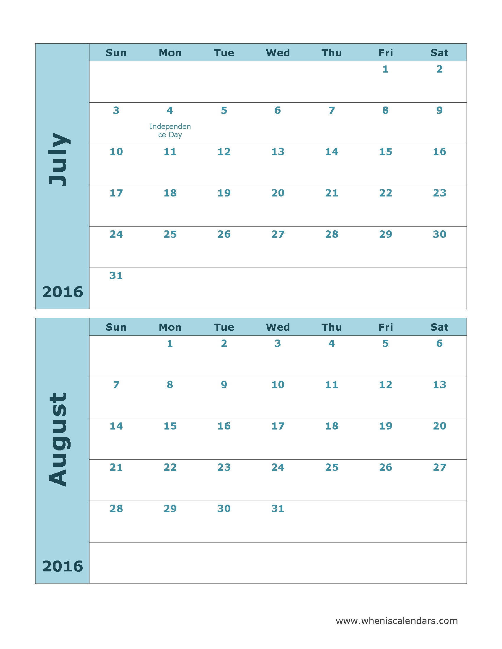 July August 2016 Calendar | July 2016 Calendar With Holidays  Printable July Through August Calendars