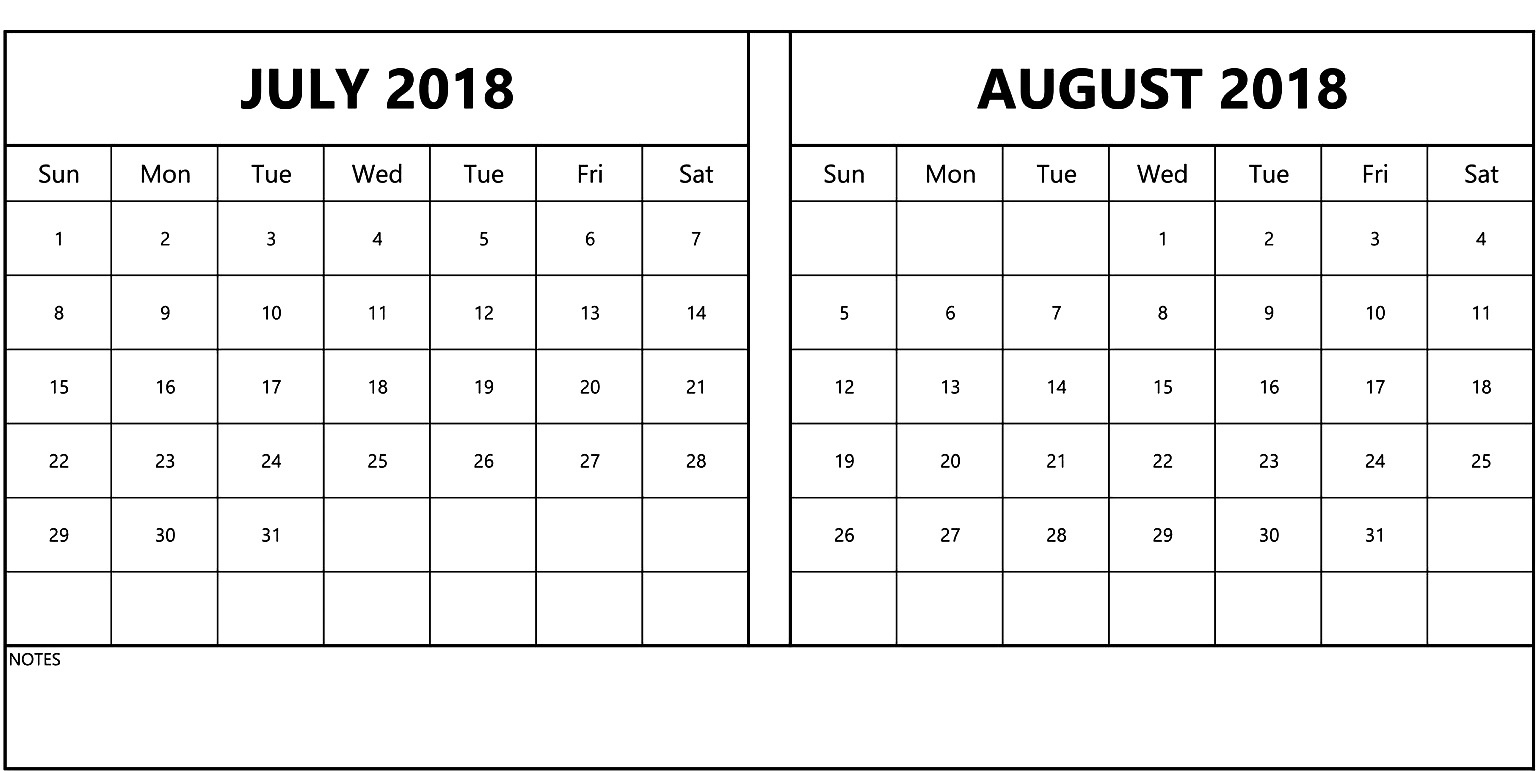 July August 2018 Calendar  Printable July Through August Calendars