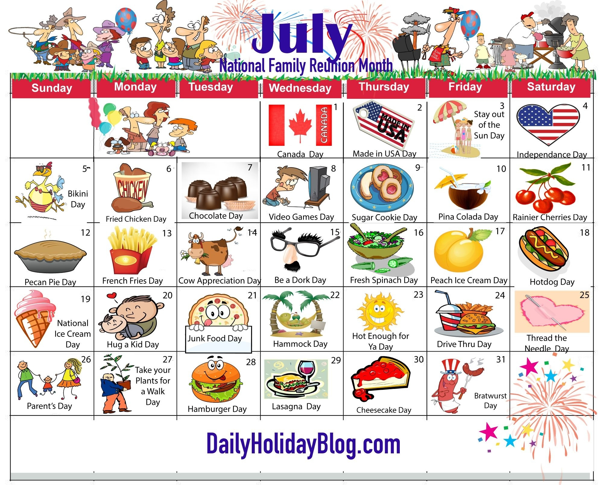 July Holiday Calendar 2015 | My Life Planner | Pinterest | Holiday  July National Food Day Calendar
