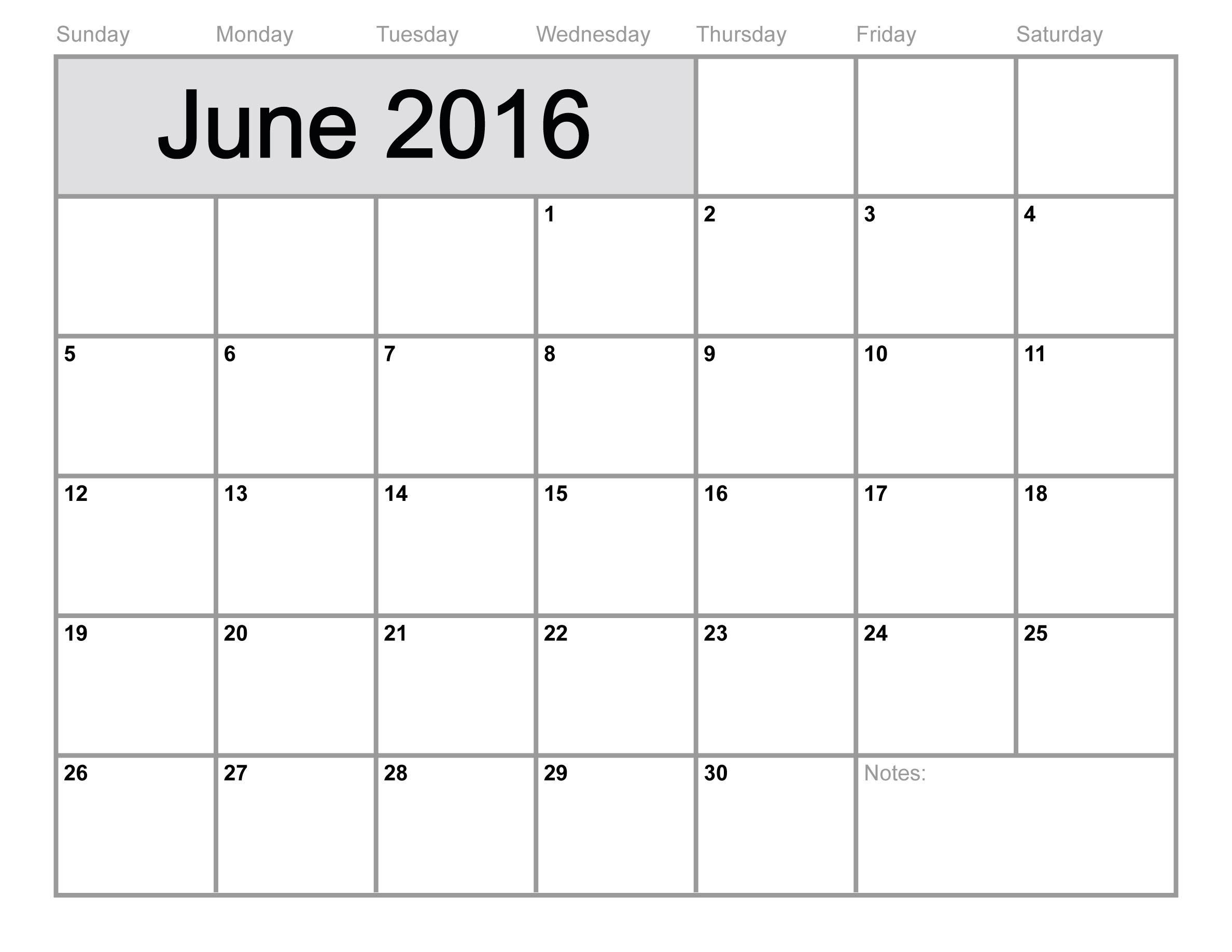 June-2016-Calendar-Printable-Free-Blank-Calendar-2016-4  Printable Full Size Blank Calendar