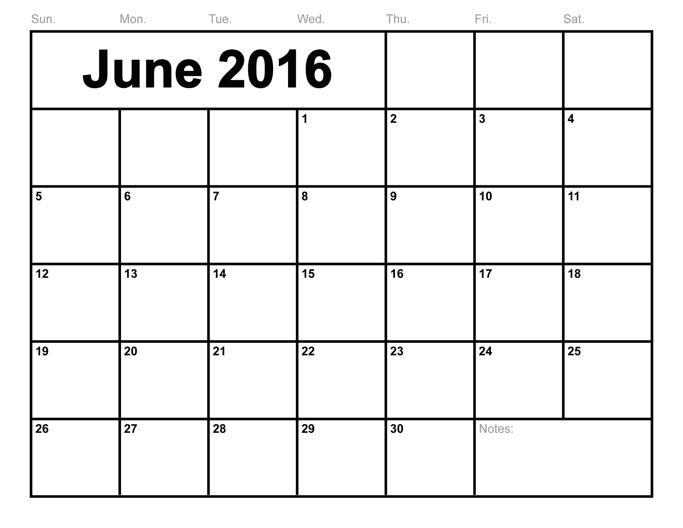 June-2016-Calendar-Printable-Free-Blank-Calendar-2016-Monthly  Free Blank Calendar Templates To Print
